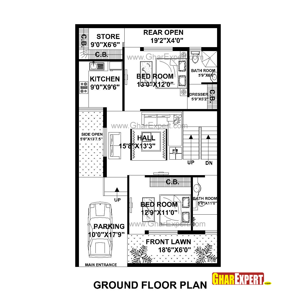 House Plan For 33 Feet By 40 Feet Plot Plot Size 147: Home Design 50 Gaj