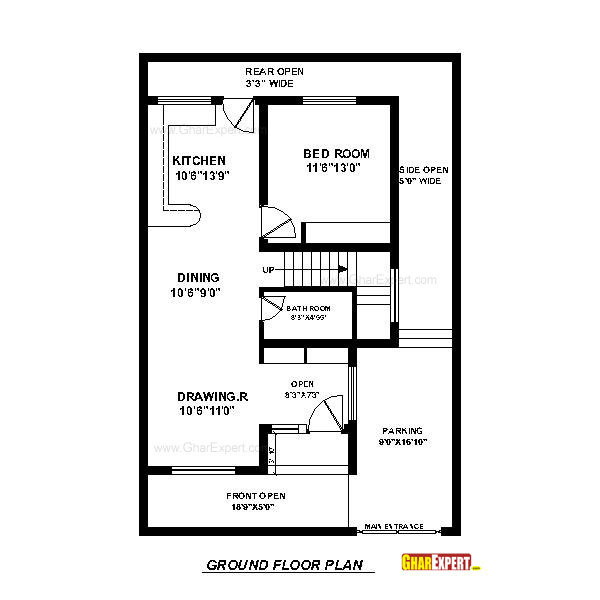 House Plan For 33 Feet By 40 Feet Plot Plot Size 147: House Plan For 30 Feet By 45 Feet Plot (Plot Size 150