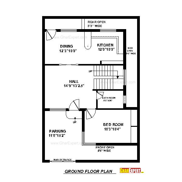 House plan for 30 feet by 45 feet plot plot size 150 Naksha for house construction