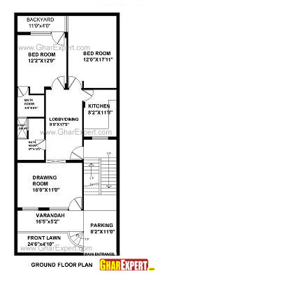 Plan For 24 Feet By 56 Feet Plot  Plot Size 149 Square Yards  Plan Code 1458 on home design and floor plans