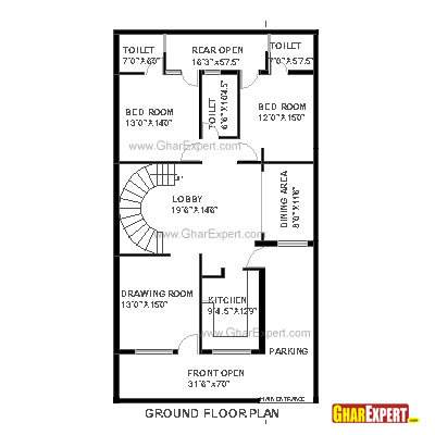 Plan For 30 Feet By 75 Feet Plot  Plot Size 250 Square Yards  Plan Code 1307 on 200 sq ft floor plan