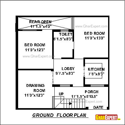 Plan For 30 Feet By 30 Feet Plot  Plot Size 100 Square Yards  Plan Code 1305 on house plans 1 bedroom flat