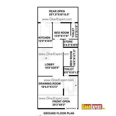 House Plan for 30 Feet by 75 Feet plot (Plot Size 250 Square Yards ...