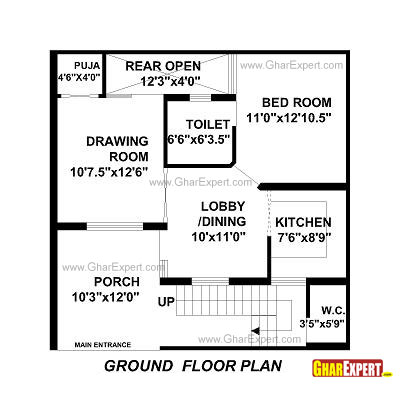 House Plan for 30 Feet by 30 Feet plot (Plot Size 100 Square Yards)