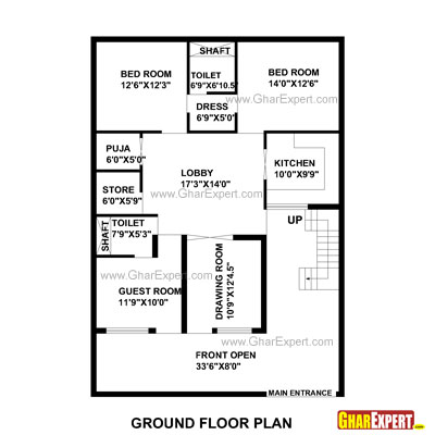 Plan For 35 Feet By 50 Feet Plot  Plot Size 195 Square Yards  Plan Code 1312 on 30 x floor plans