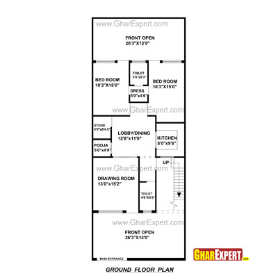 House plan for 29 feet by 69 feet plot plot size 222 for Bedroom 70 square feet