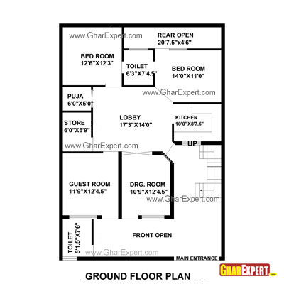 House Plan For 35 Feet By 50 Feet Plot Plot Size 195: 35x60 house plans