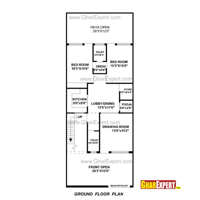 House plan for 24 feet by 60 feet plot plot size160 for Bedroom 70 square feet