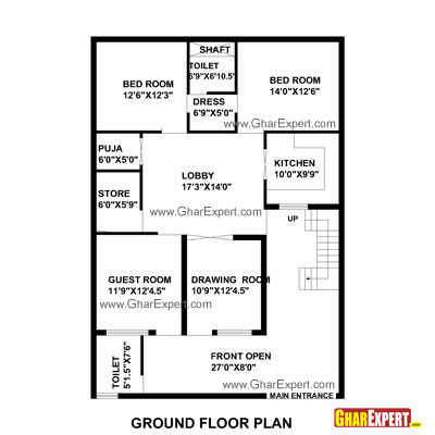 Plan For 35 Feet By 50 Feet Plot  Plot Size 195 Square Yards  Plan Code 1317 on bungalow house plans in india