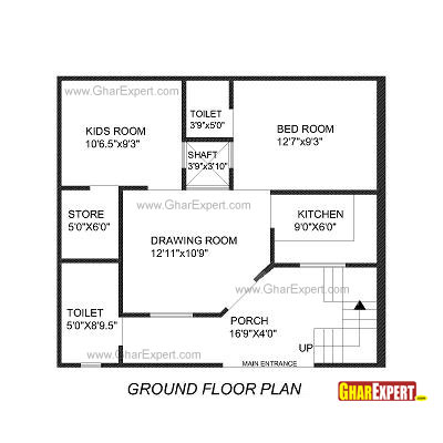 House Plan for 27 Feet by 27 Feet plot Plot Size 81 Square Yards