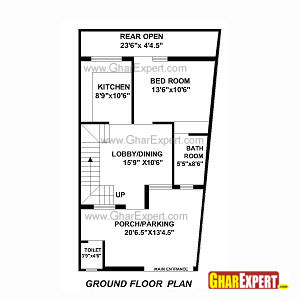 Plan For 27 Feet By 50 Feet Plot  Plot Size 150 Square Yards  Plan Code 1452 on architectural designs house plans