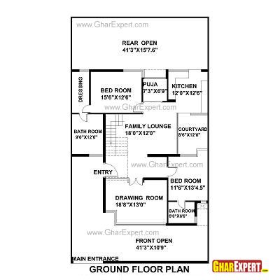 House plan for 42 feet by 75 feet plot plot size 350 300 ft to m