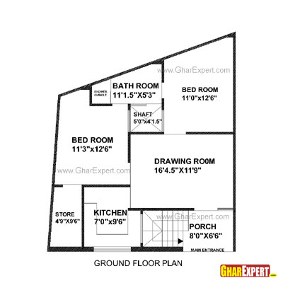 House Plan for 30 Feet by 30 Feet plot (Plot Size 100 Square Yards