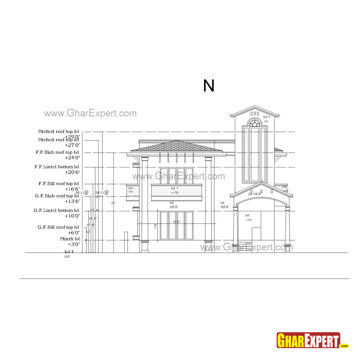 Sample Front Elevation U : Sample architectural structure plumbing and electrical