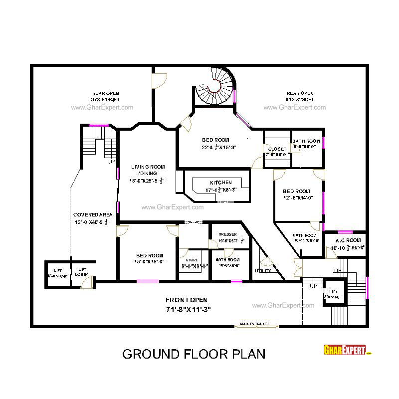 Penthouse plan for 90 feet by 70 feet plot plot size 700 for Bedroom 70 square feet