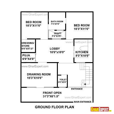 House plan for 32 feet by 40 feet plot plot size 142 for A bedroom has a length of x 3