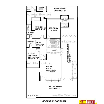 House Plan for 45 Feet by 80 Feet plot (Plot Size 400 Square Yards)