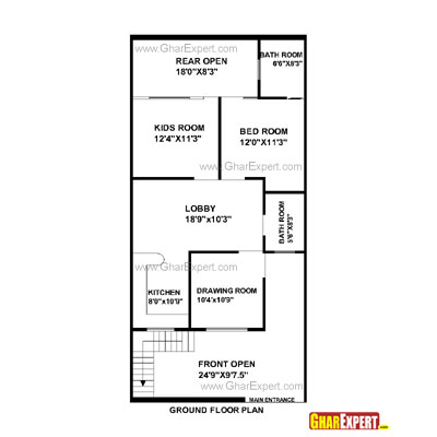 Plan For 25 Feet By 53 Feet Plot (Plot Size 147 Square Yards) Plan Code 1448