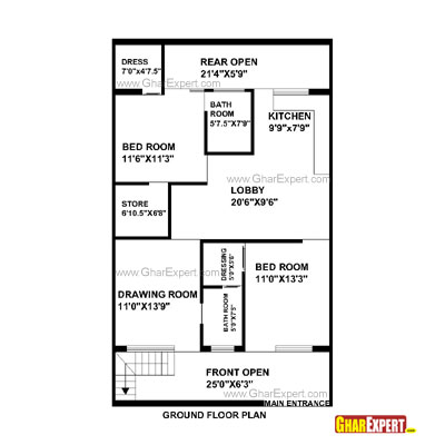 House Plan for 28 Feet by 48 Feet plot Plot Size 149 Square Yards