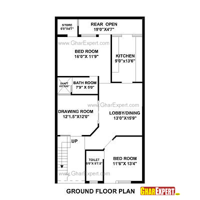 House Plan for 35 Feet by 50 Feet plot (Plot Size 195 Square Yards ...