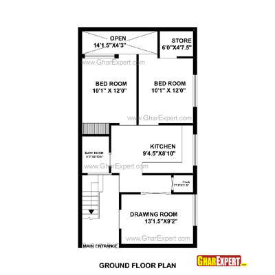 Plan For 22 Feet By 42 Feet Plot  Plot Size 103 Square Yards  Plan Code 1328 on one bedroom house plans