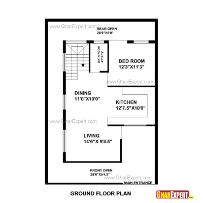 House plan for 33 feet by 45 feet plot plot size 165 30 by 45 house plans