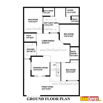 House Plan for 42 Feet by 66 Feet plot (Plot Size 308 Square Yards)