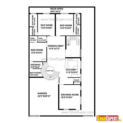 House plan for50 feet by 80 feet plot plot size 444 for 300 yards house plan