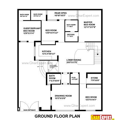 House Plan for 48 Feet by 58 Feet plot (Plot Size 309 Square Yards)