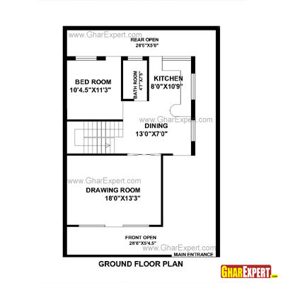 House Plan For 30 Feet By 44 Feet Plot Plot Size 147