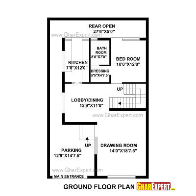 Stupendous House Plan For 28 Feet By 48 Feet Plot Plot Size 149 Square Interior Design Ideas Tzicisoteloinfo