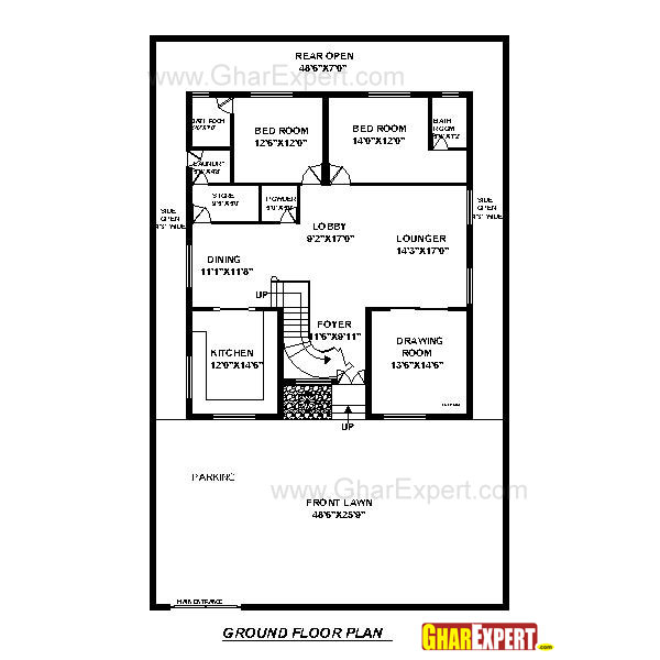 House plan for50 feet by 80 feet plot plot size 444 for 80 sq ft bathroom designs