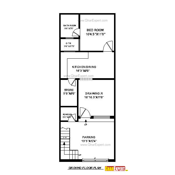 House Plan For 33 Feet By 40 Feet Plot Plot Size 147: House Plan For 17 Feet By 45 Feet Plot (Plot Size 85