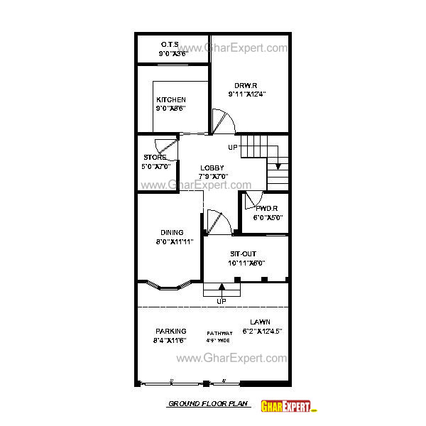 House plan for 20 feet by 45 feet plot plot size 100 100 square foot house