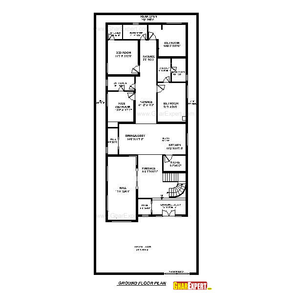 House plan for 40 feet by 100 feet plot plot size 444 40 sq house plans