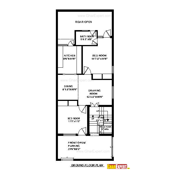 House Plan For 33 Feet By 40 Feet Plot Plot Size 147: House Plan For 16 Feet By 54 Feet Plot (Plot Size 96