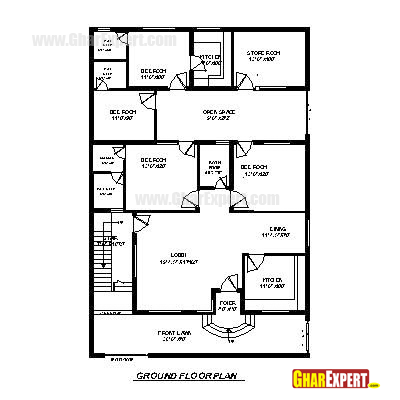 Plan For 40 Feet By 60 Feet Plot  Plot Size 267 Square Yards  Plan Code 1581 on home design and floor plans