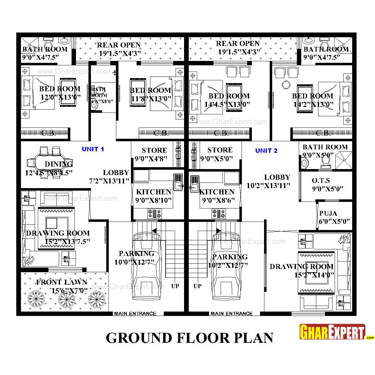 apartment plan for 75 feet by 58 feet plot plot size 483 square house plan for 60 feet by 50 feet plot plot size 333 square yards