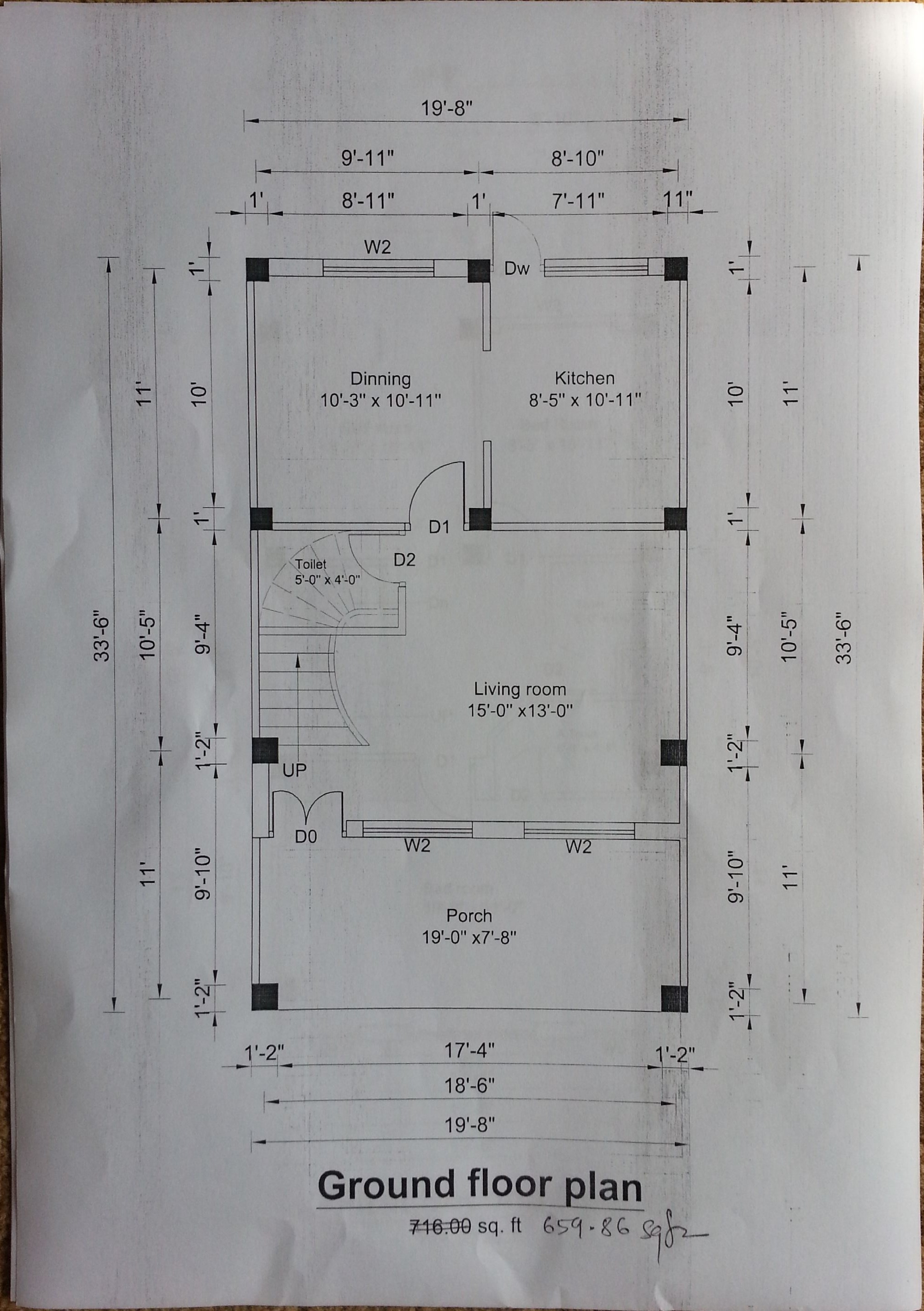 Row House Floor Plan Column Size And Distance Between Column