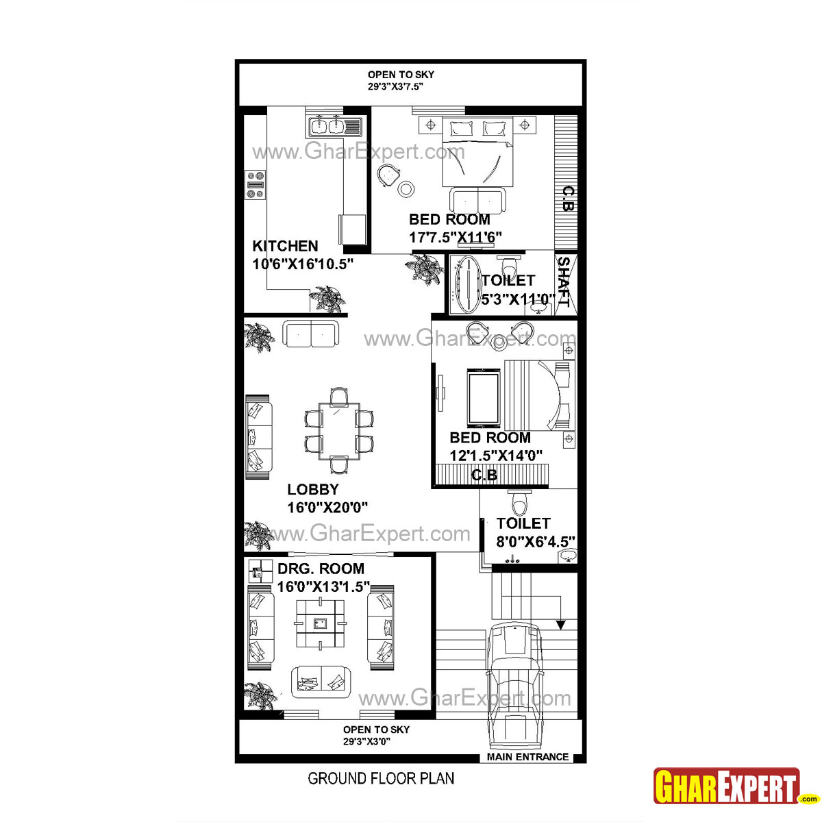 House Plan For 33 Feet By 40 Feet Plot Plot Size 147: GC 1310 Plan House Plan For 30 Feet By 60 Feet Plot (Plot