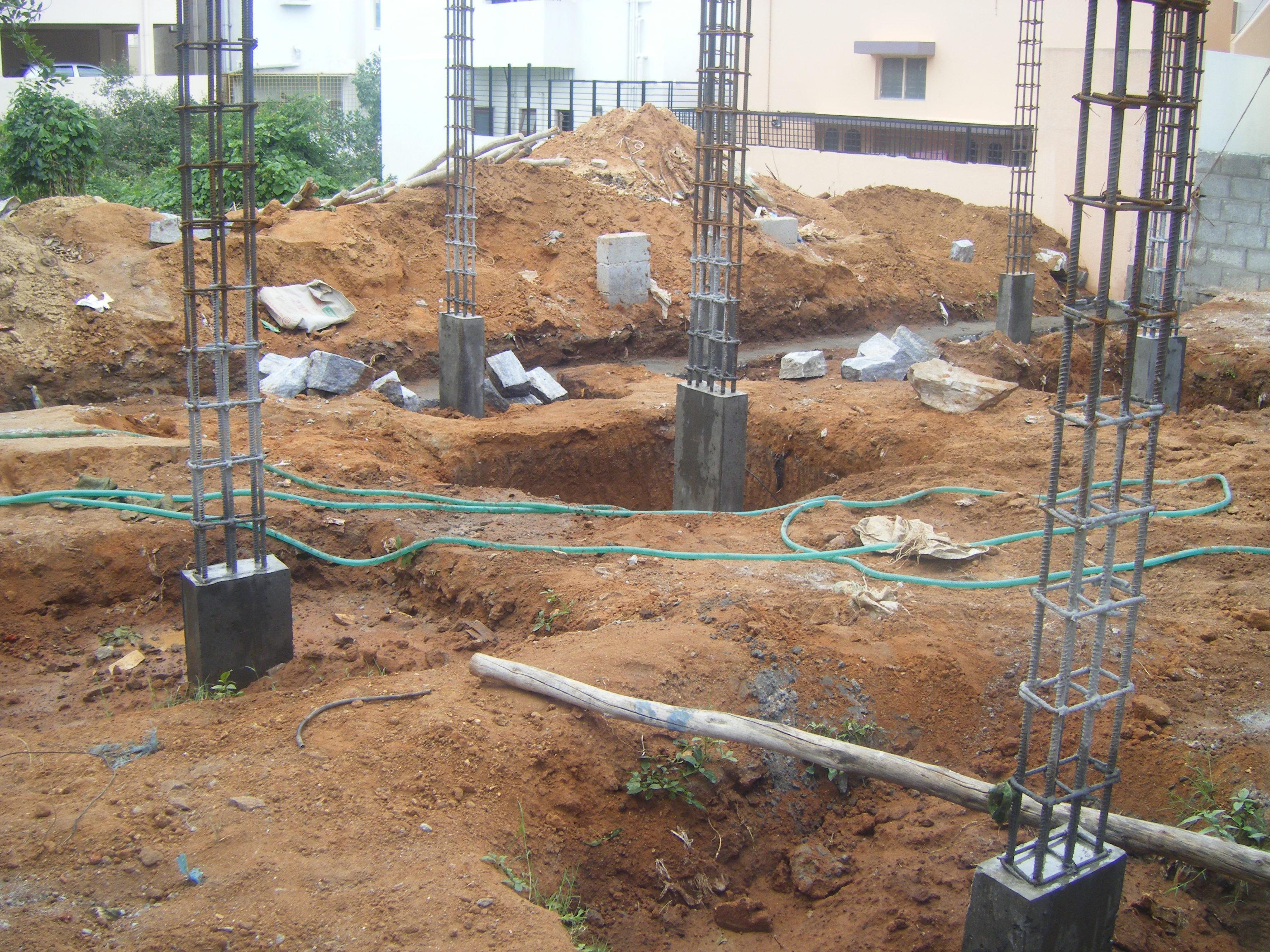 Building A House On Pillars : Pillar plinth beam frame work avoiding stone foundation