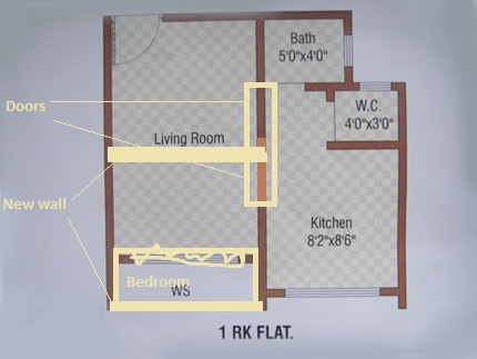 Convertion From 1rk To 1bhk