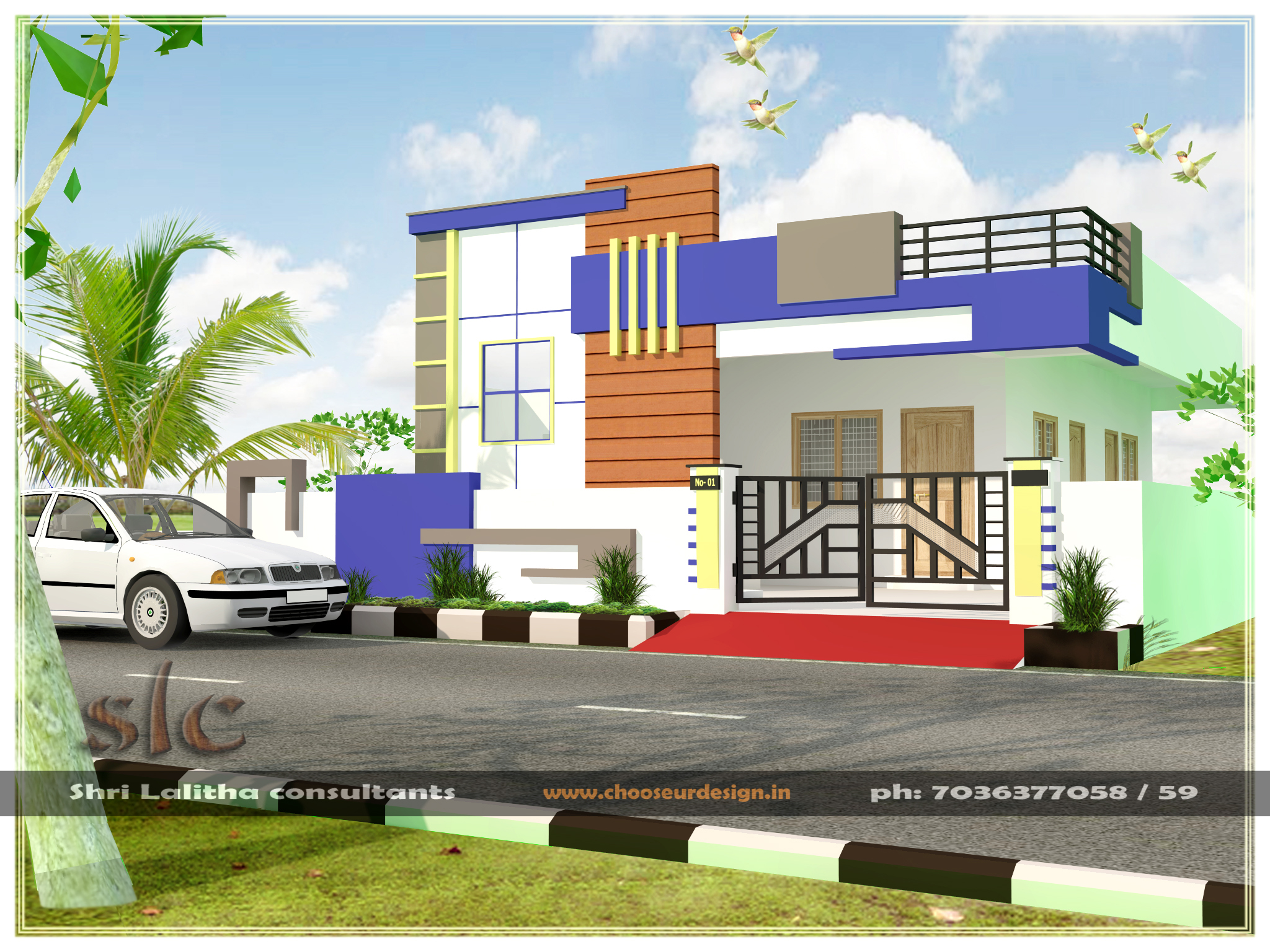 South indian house elevation india house design anandus for Single house front design
