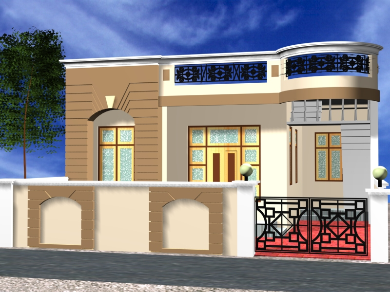 One Story Front Elevation : Can i have front elevation for indian homes with single story