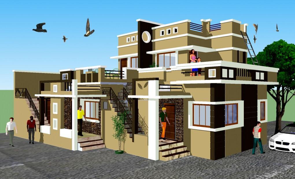 Row House Front Elevation Designs : D row house gharexpert
