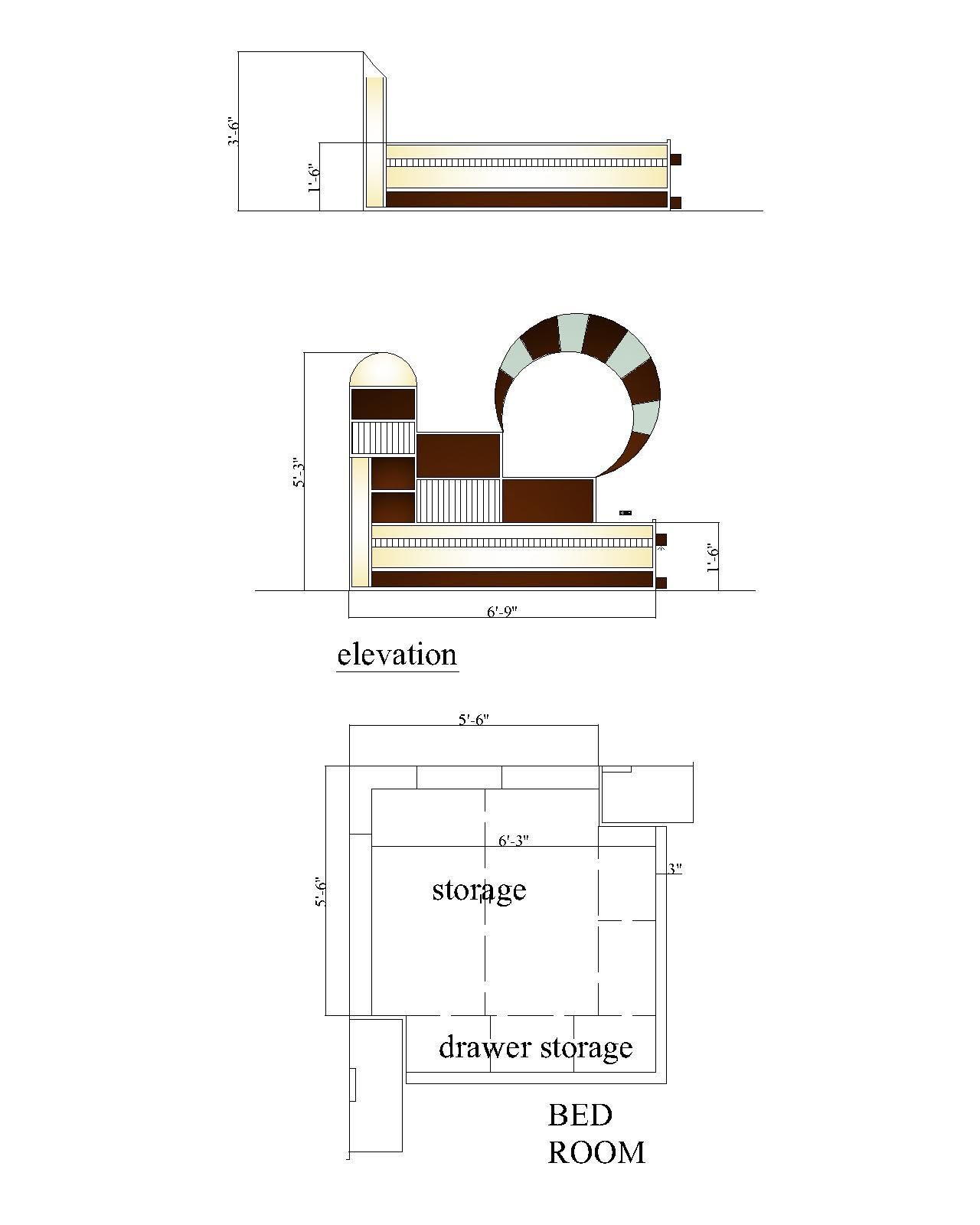 Bed design drawing and bed elevation - GharExpert