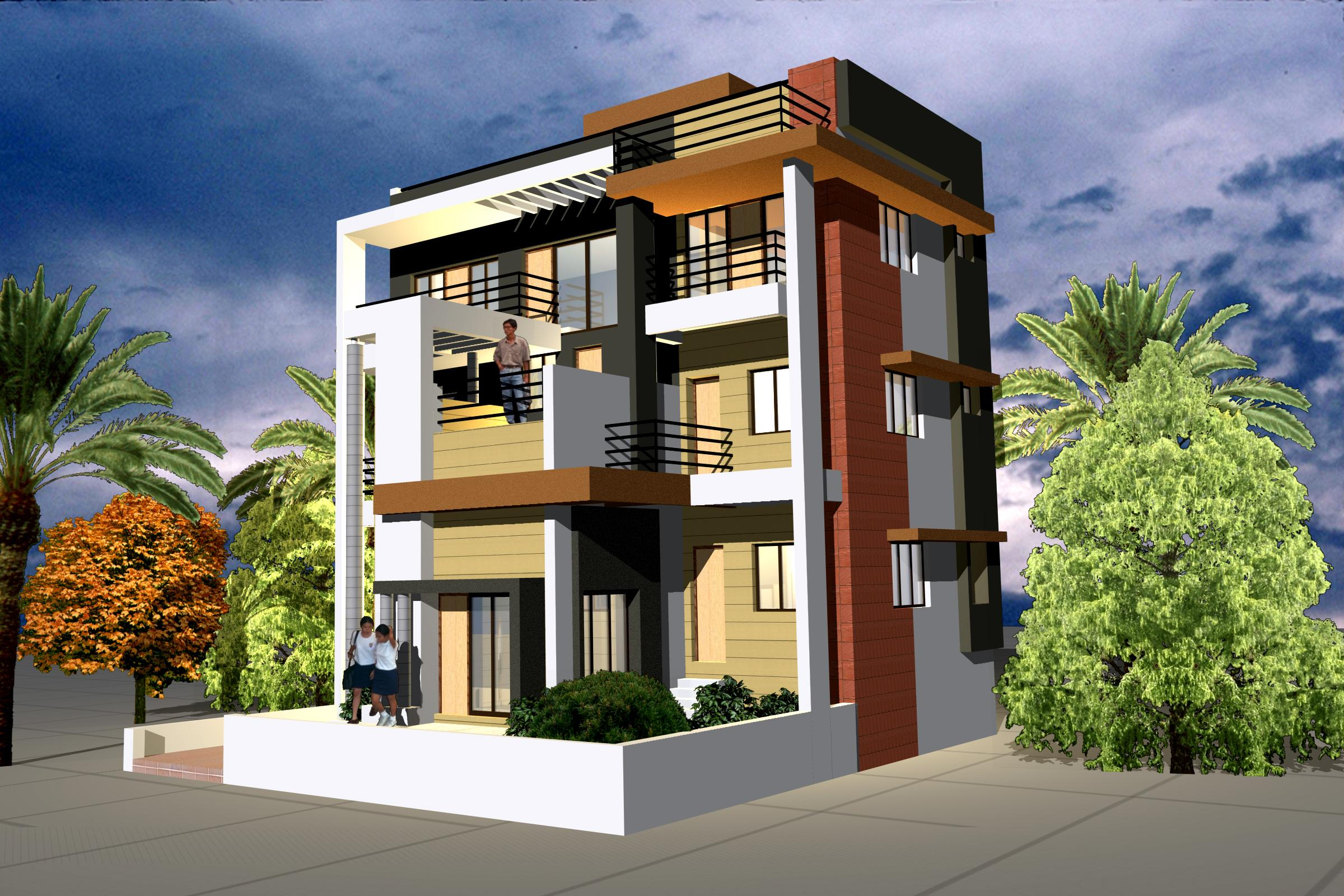 Exterior elevation design gharexpert for Elevation design photos residential houses