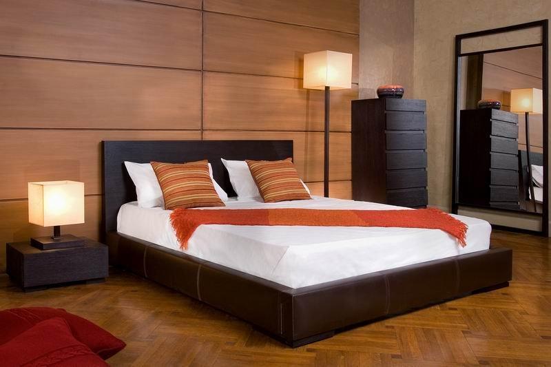 Laminate on bed headboard wall