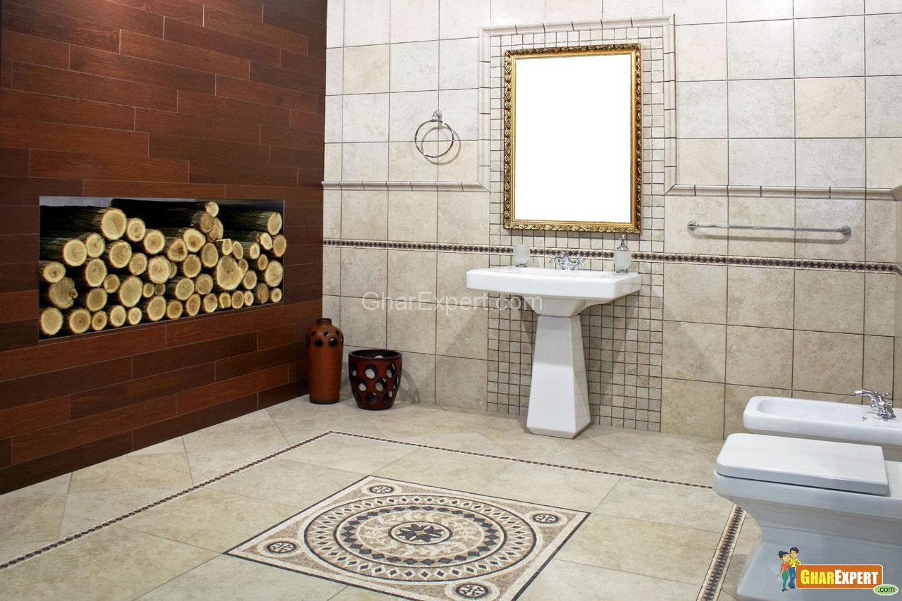 Italian style bathroom with ancient mosaic and logwood for Badezimmermobel living style