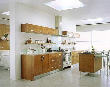 One wall modern kitchen with island gharexpert for Different kitchen layout
